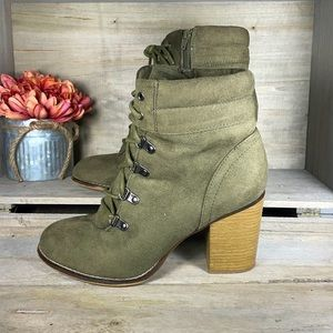 Candie's Vintage Olive Heeled Boots Shoes